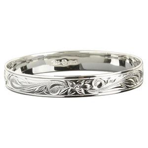 Sterling Silver Hawaiian Bangle Scroll Plumeria Engraving Straight Edge