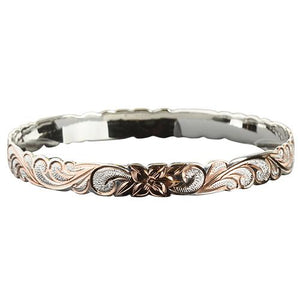 Hawaiian Sterling Silver Bangle Queen Scroll Engraving Cut Out Edge Pink Gold Two Tone - Hanalei Jeweler