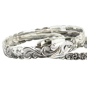 Hawaiian Sterling Silver Bangle Queen Scroll Engraving Cut Out Edge - Hanalei Jeweler