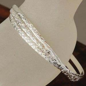 Sterling Silver Hawaiian Bangle 3 in 1 Heirloom Scroll Engraving Bangle Silver Color