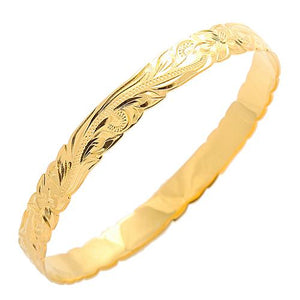 Classic Style Sterling Silver Hawaiian Bangle Heirloom Scrolling Yellow Gold Plated - Hanalei Jeweler