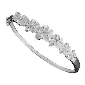 Seven Plumeria Flower Open Bangle With CZ Inlay - Hanalei Jeweler