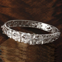 Five Plumeria Flower Open Bangle With CZ Inlay - Hanalei Jeweler