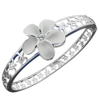 Hawaiian Jewelry 22mm Plumeria Honu Around Open Bangle - Hanalei Jeweler