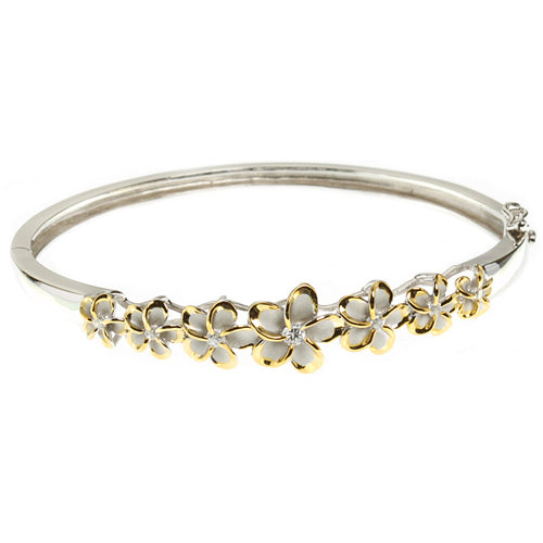 Hawaiian Jewelry 6-12mm 7 Plumeria Rhodium Bangle YG - Hanalei Jeweler