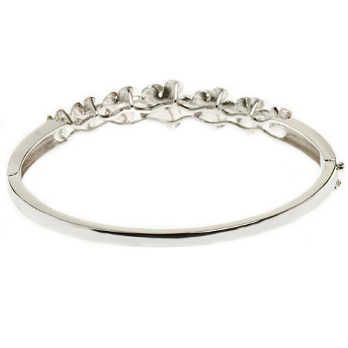 Sterling Silver Hawaiian Jewelry Seven Plumeria Bangle Rhodium Plated - Hanalei Jeweler