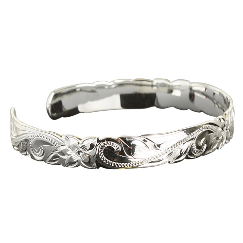 Hawaiian Jewelry Scroll Cut Out One Tone Cuff Bangle - Hanalei Jeweler