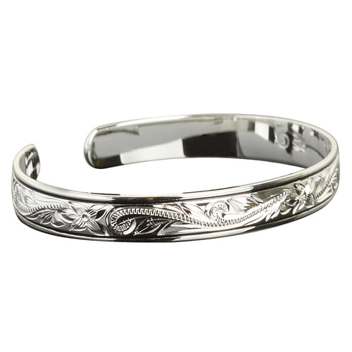 Hawaiian Jewelry Scroll Black Border Cuff Bangle - Hanalei Jeweler