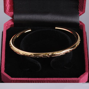 Hawaiian Jewelry Scrolling Plumeria Engraving Round Band Cuff Bangle YG 5.5mm - Hanalei Jeweler