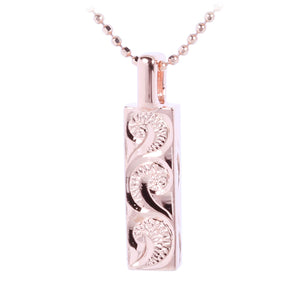 Sterling Silver Hand-made Scroll Vertical Pendant Pink Gold Plated - Hanalei Jeweler