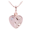 Pink Gold Plated Sterling Silver Small Heart Pendant with CZ - Hanalei Jeweler
