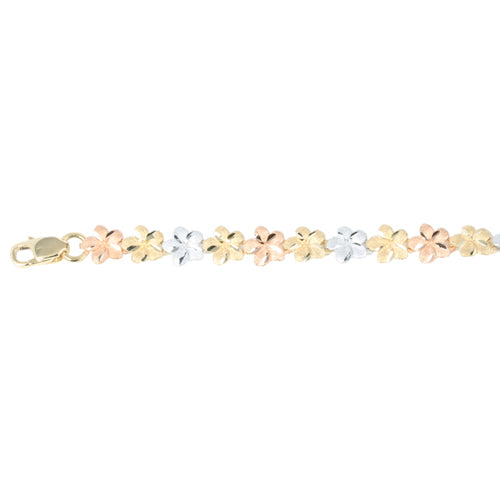 14k Yellow Gold Tri-Color Plumeria Linked Bracelet 5mm - Hanalei Jeweler