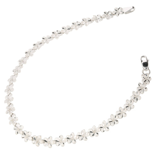 14k White Gold Plumeria Linked Bracelet - Hanalei Jeweler