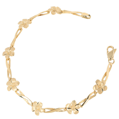 14k Yellow Gold Plumeria Bracelet - Hanalei Jeweler