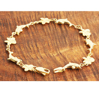 14k Yellow Gold Dolphin and Plumeria Bracelet