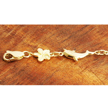 14k Yellow Gold Dolphin and Plumeria Bracelet - Hanalei Jeweler