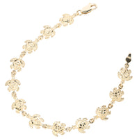 14K Yellow Gold Turtle Bracelet Diamond Cut Finished