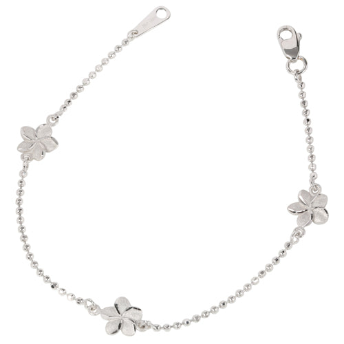 14K White Gold Bead Chain Hawaiian Plumeria Bracelet - Hanalei Jeweler