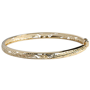 14k Yellow Gold See Through Maile Leaf Bangle 5mm - Hanalei Jeweler