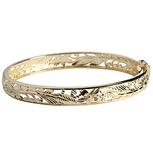 14k Yellow Gold See Through Maile Leaf Bangle 8mm - Hanalei Jeweler