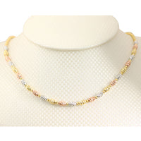 14K Gold Fancy Italian Barrel Beads Chain Necklace Tri-color Diamond Cut