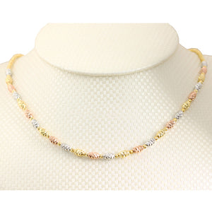 14K Gold Fancy Italian Barrel Beads Chain Necklace Tri-color Diamond Cut - Hanalei Jeweler