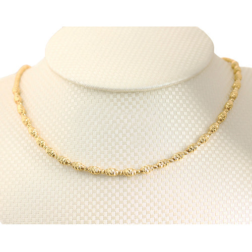 14K Yellow Gold Fancy Italian Barrel Beads Chain Necklace Diamond Cut - Hanalei Jeweler