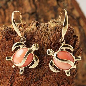 Yellow Gold Pink Coral Inlaid Honu(Hawaiian Turtle) Hook Earring
