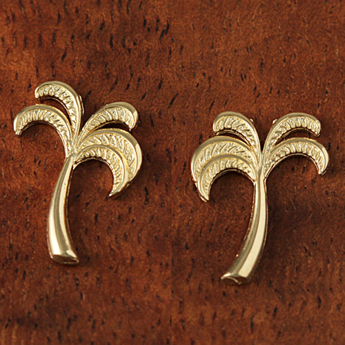 Yellow Gold Post Style Palm Tree Post Earring - Hanalei Jeweler