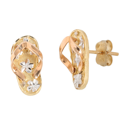 YG/PG Slipper(Flip Flop) Plumeria Earring Post Style