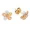 Yellow Gold Plumeria Post Earring Tri-color Sandblast Finished 9mm