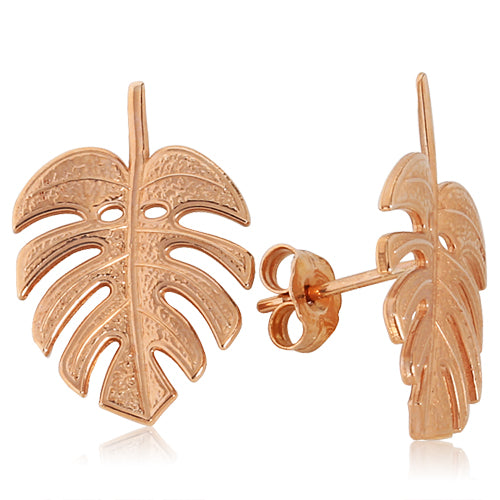 Monstera Leaf Earrings 14k Pink Gold - Hanalei Jeweler