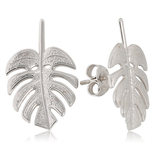 Monstera Leaf Earrings 14k White Gold - Hanalei Jeweler