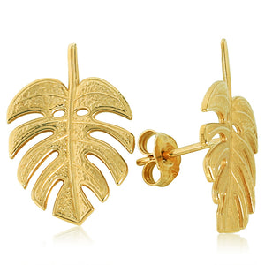 Monstera Leaf Earings 14k Yellow Gold - Hanalei Jeweler
