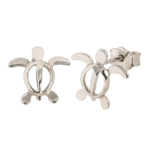 White Gold Small Honu(Hawaiian turtle) Post Earring - Hanalei Jeweler