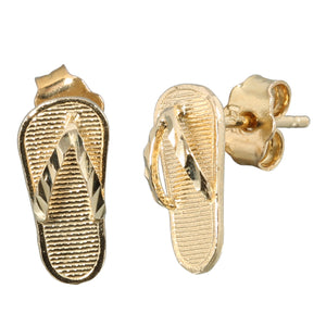 14K Yellow Gold Slipper(Flip Flop) Earring Stud - Hanalei Jeweler