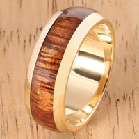 14K Yellow Gold Koa Wood Ring 7mm Barrel Shape