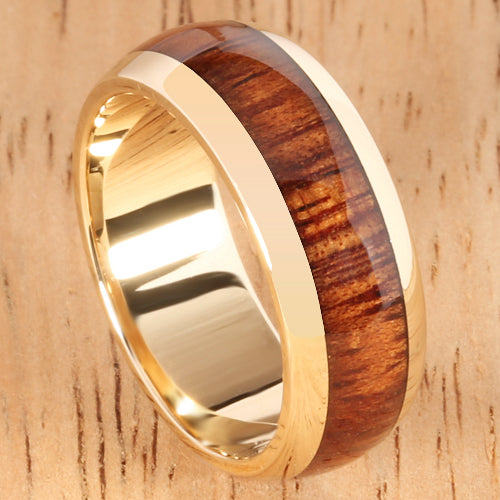14K Yellow Gold Koa Wood Ring 7mm Barrel Shape - Hanalei Jeweler