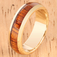 14K Yellow Gold Natural Hawaiian Koa Wood Inlaid Wedding Ring 5mm