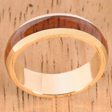 14K Yellow Gold Natural Hawaiian Koa Wood Inlaid Wedding Ring 5mm - Hanalei Jeweler