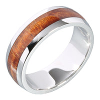 14K White Gold Koa Wood Ring 7mm Barrel Shape