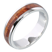 14K White Gold Natural Hawaiian Koa Wood Inlaid Wedding Ring 5mm
