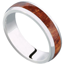 14K White Gold Natural Hawaiian Koa Wood Inlaid Wedding Ring 5mm - Hanalei Jeweler