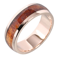 14K Pink Gold Natural Hawaiian Koa Wood Inlaid Wedding Ring 7mm