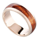 14K Pink Gold Natural Hawaiian Koa Wood Inlaid Wedding Ring 7mm - Hanalei Jeweler