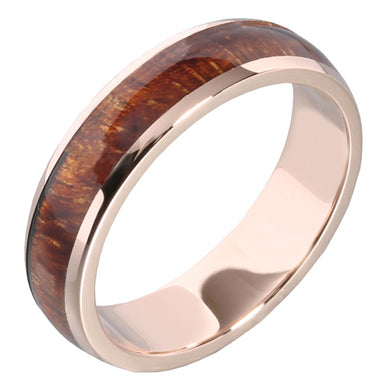 14K Pink Gold Koa Wood Ring Hawaiian Koa Wood Wedding Ring 5mm - Hanalei Jeweler