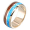 14K Yellow Gold Natural Hawaiian Koa Wood and Opal Inlay Wedding Ring 8mm - Hanalei Jeweler