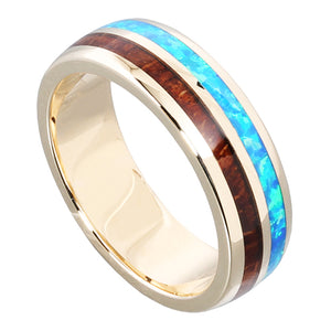 14K Yellow Gold Natural Hawaiian Koa Wood and Opal Inlay Wedding Ring 6mm - Hanalei Jeweler