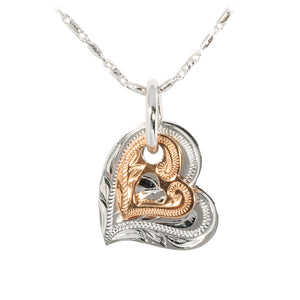 14KT White Gold/Pink Gold Two Tone Double Scroll Heart Pendant - Hanalei Jeweler