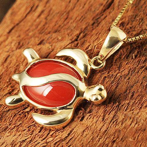 Yellow Gold Red Coral Inlaid Honu(Hawaiian Turtle) Style Pendant - Hanalei Jeweler